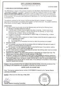Kina Beach Vineyard Liquor Licence valid until 20082022